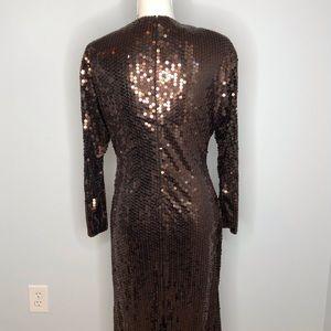 Oleg Cassini Dresses - Oleg Cassini bronze sequined vintage dress size 10